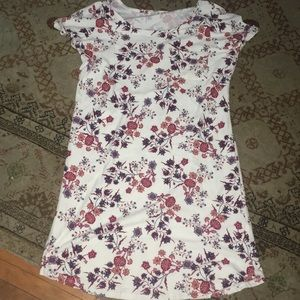 Pink Rose soft white floral tunic dress